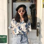 港風復古印花短袖襯衣2021夏季韓版學生ins休閒上衣女polo雪紡衫