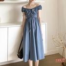 度假風洋裝 2020夏季復古法式度假風尼斯藍綁帶無袖縮腰桔梗長裙子連身裙女裝