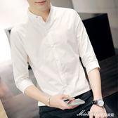 季白7七分袖襯衫男士韓版修身潮流帥氣學生立領短袖襯衣中袖    蜜拉貝爾