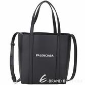 BALENCIAGA Everyday 品牌字母小牛皮小型兩用托特包(黑色) 2020359-01