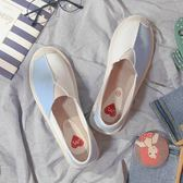 休閒鞋。夏季新款老北京布鞋子小香草編平底一腳蹬懶人帆布鞋