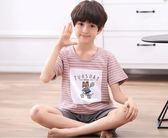 兒童睡衣男童夏季短袖純棉男孩大童薄款家居服套裝12-15歲 童趣潮品
