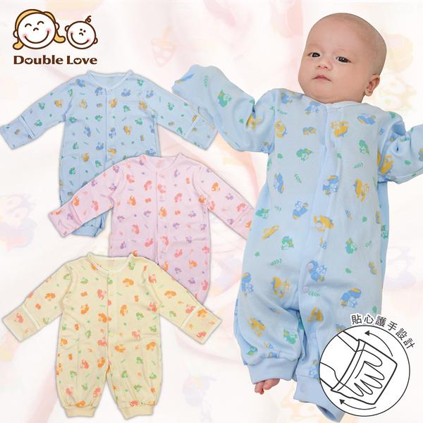 母嬰同室 台灣製 長袖精梳棉松鼠連身衣 防抓護手 新生兒服 寶寶衣 嬰兒服 兔裝【GD0155】
