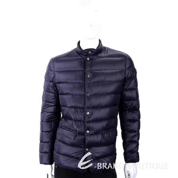 TRUSSARDI 絎縫深藍色立領拉鍊釦式輕羽絨外套 1810261-34