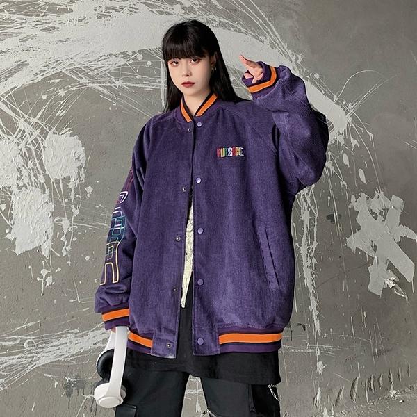 潮流女生外套 洋氣簡約女外套韓版外套 秋季撞色夾克外套 百搭時尚女生外套 燈芯絨寬鬆女士外套