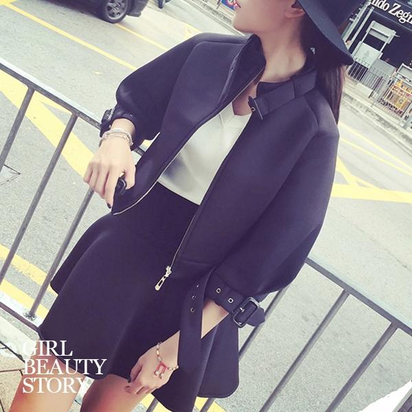 SISI【E5030】率性酷味韓版短版拉鍊外套+傘擺短裙二件式套裝