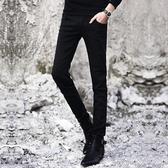 牛仔褲 春季黑色牛仔褲男士韓版修身青少年小腳褲潮流男裝休閒男褲子長褲 寶貝計書