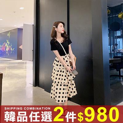 任選2件980連身裙韓版素面上衣點點蛋糕裙連身裙洋裝【08G-M0866】
