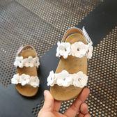 童鞋女童涼鞋夏季新品寶寶兒童正韓平底花朵公主鞋防滑沙灘鞋 七夕節大促銷