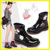 新款套鞋時尚平底短筒春夏實色防滑水鞋馬丁雨靴透明膠鞋雨鞋女