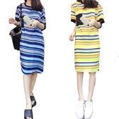 雪紡多色條紋短袖洋裝   [藍 黃] 兩色售