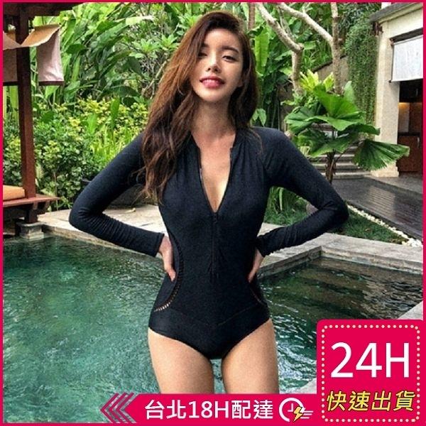 【現貨】梨卡 - 韓國甜美性感[黑色超顯瘦]深V拉鍊防曬長袖衝浪浮淺連身泳裝比基尼泳衣CR434