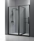 【麗室衛浴】B-048 簡框一字二門單邊活動外開式拉門 清玻煙燻黑色 140~160*190CM