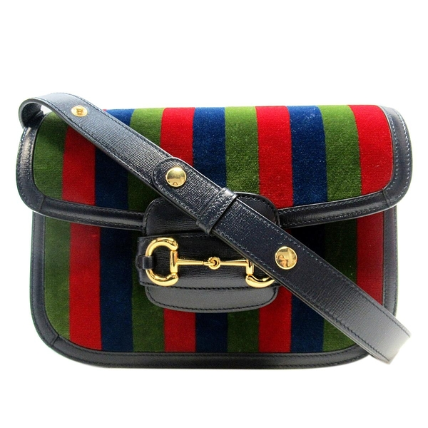 GUCCI 古馳 限定款綠紅藍色絨布1955馬銜扣肩背斜背包Horsebit Shoulder Bag BRAND OFF