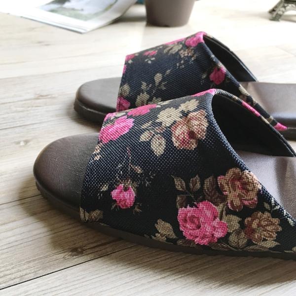 品味系列-布面皮質室內拖鞋-鏗鏘玫瑰