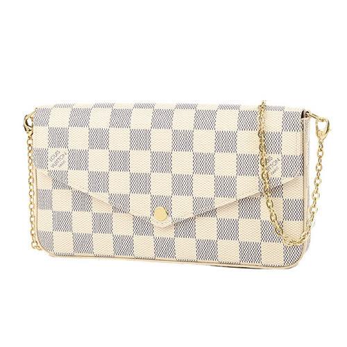 茱麗葉精品 全新精品 Louis Vuitton LV N63106 Pochette Félicie 白棋盤格紋鍊條斜背小提包(預購)