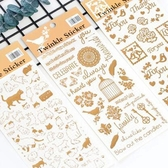 【BlueCat】金色鏤空愛心小鳥貓咪手帳裝飾貼紙