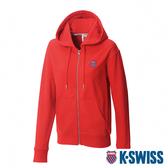 K-SWISS Court Hooded Zip-Up時尚連帽外套-女-紅