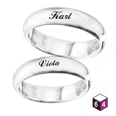 訂製對戒 情侶對戒 5mm弧形刻字  英文 文字 姓名 純銀戒指-64DESIGN銀飾訂製