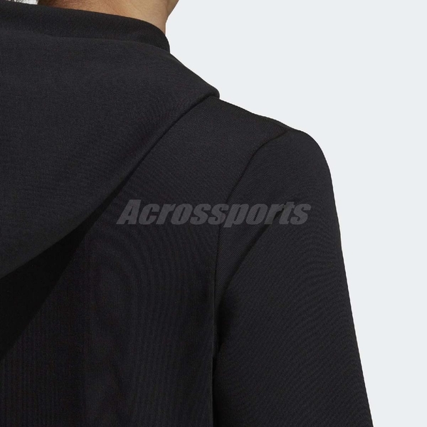adidas 連帽T恤 Essentials Linear Pullover Hoodie 黑 白 女款 帽T 【PUMP306】 DP2403