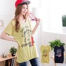 甜美風格 日系英文圖印顯瘦長版上衣 2色...