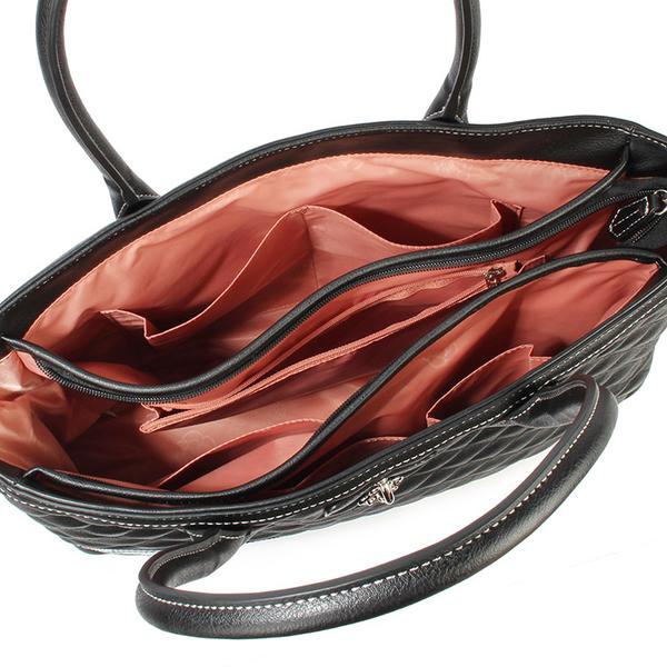 CLATHAS 山茶花鎖頭裝飾菱格紋皮革大托特包(黑色)201008-10