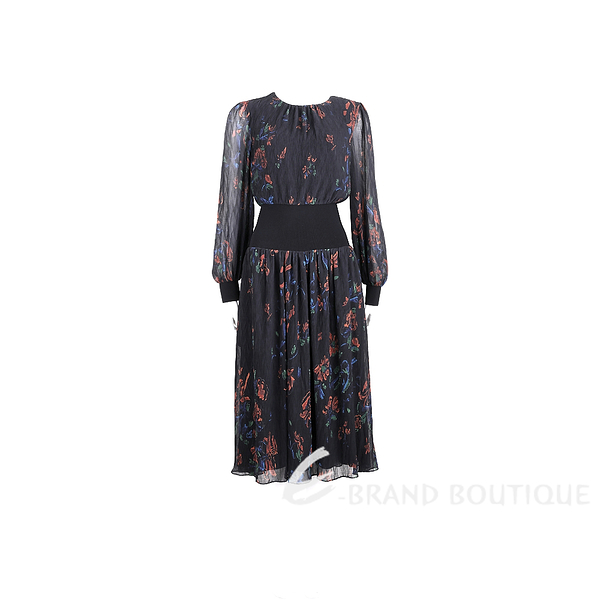 TORY BURCH RIB-WAIST 黑色印花雪紡縮腰洋裝 2040378-01