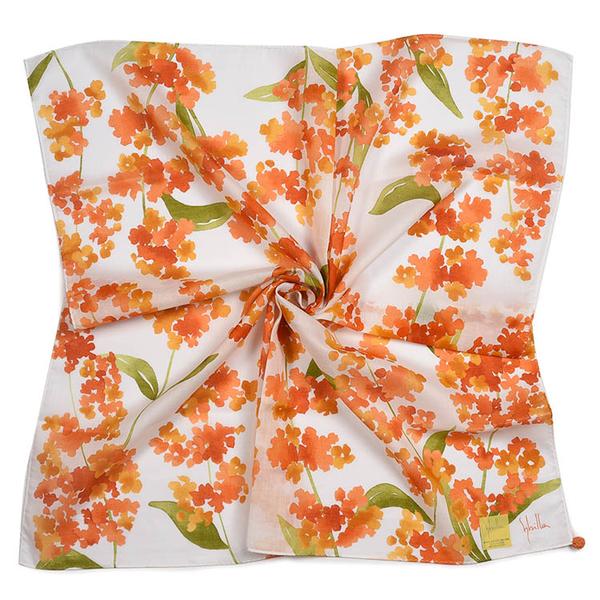 Sybilla鼠尾草印花純綿帕領巾(橙色)989164-107