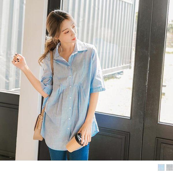 《AB7710-》高含棉細直條紋五分袖襯衫 OB嚴選