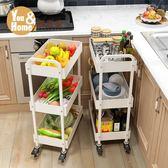 廚房置物架落地多層 行動蔬菜置物架子多功能收納3層推車架WY 萬聖節