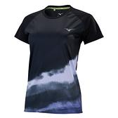 MIZUNO 女裝 短袖 T恤 慢跑 吸汗速乾 反光 聚酯纖維 黑【運動世界】J2TA170309