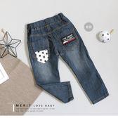 美式星星後口袋鯊魚布標牛仔褲 車線 長褲 口袋 星星 刷白 美式 街頭 男童 哎北比童裝