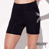 Mollifix 瑪莉菲絲 標語織帶三分訓練短褲 (黑)
