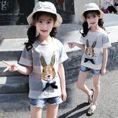 女童短袖T恤夏裝卡通純棉上衣兒童圓領半袖條紋體恤衫 奇思妙想屋