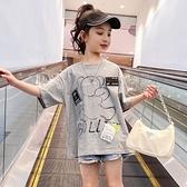 女童T恤 女童t恤純棉2021新款兒童夏裝短袖韓版洋氣大童夏季網紅半袖童裝【快速出貨】