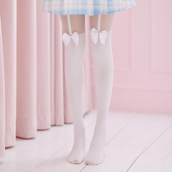 襪子 吊帶蝴蝶結大腿襪絲襪-Ruby s 露比午茶