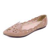 民族風舒適透氣鏤空軟底單鞋女秋季新款舒適防滑平跟大尺碼女鞋