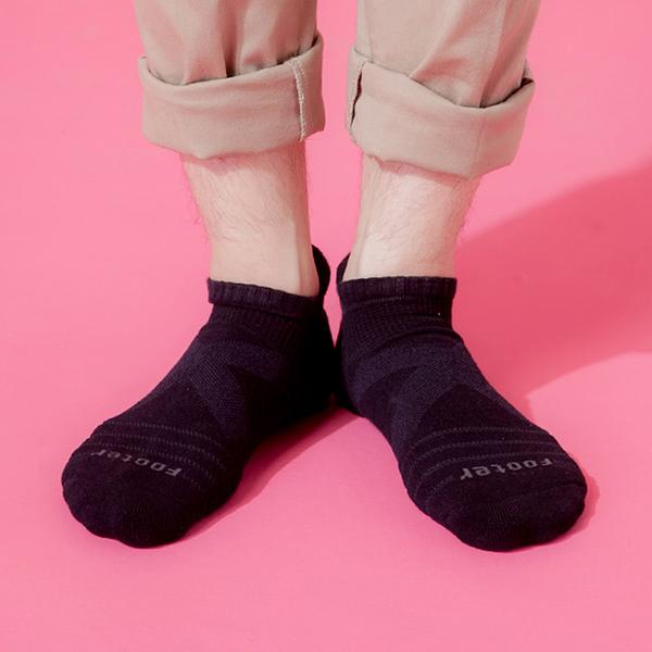 Footer 除臭襪 X型減壓經典護足船短襪(男) T109L-黑 24-27cm