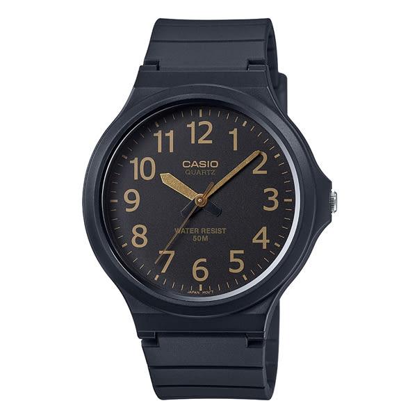 【僾瑪精品】CASIO卡西歐 簡約指針錶-黑面金字/MW-240-1B2