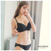 Catworld 甜蜜緹花。蕾絲內衣組(黑)【18800589】‧70A-85C