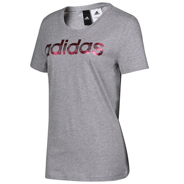 Adidas Foil Logo 女 灰 粉金 短袖 運動上衣 短T 愛迪達 Tee 棉T 舒適 休閒 圓領T CV4570