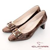 【CUMAR】優雅化身復古雙色小方頭粗跟中跟鞋(古銅色)