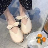 小皮鞋女新款韓版百搭蝴蝶結圓頭軟底豆豆鞋娃娃鞋單鞋 黛尼時尚精品