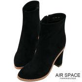 中筒靴 拼色絨布尖頭粗跟中筒靴(黑)-AIR SPACE