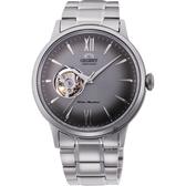 ORIENT東方 開芯小鏤空機械錶-灰x銀/40.5mm RA-AG0029N