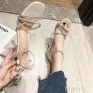細跟高跟涼鞋 涼鞋女夏仙女風新款時尚中跟百搭水鉆一字帶高跟鞋細跟女鞋 阿薩布魯