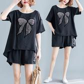 大碼女裝胖mm最愛夏裝寬鬆減齡蝴蝶貼布短袖上衣+鬆緊腰短褲套裝