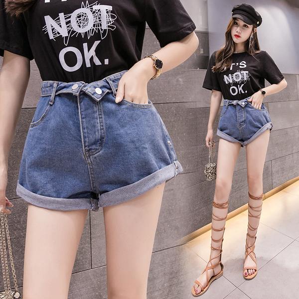 VK旗艦店 韓系高腰牛仔卷邊寬鬆百搭顯瘦寬口單品短褲