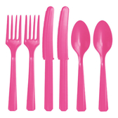 塑膠刀叉匙24入-漾彩粉
