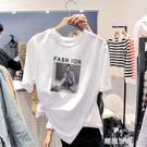 女t桖短袖t恤純棉白色圓領黑色2020小衫百搭簡約學生體恤寬鬆印花『潮流世家』